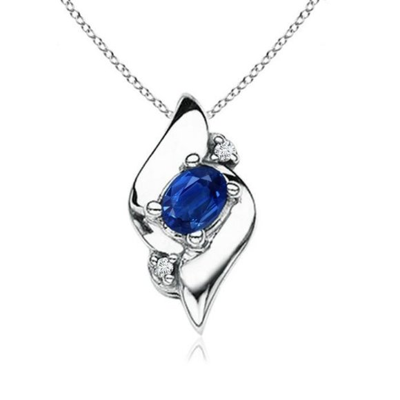 Jewelry - 2.10 carats pendant CEYLON SAPPHIRE with diamonds